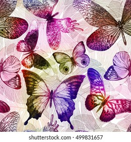Seamless pattern with blooming flowers and flying butterflies. Vector colorful illustration.