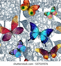 Seamless pattern with blooming flowers and flying butterflies. Vector colorful illustration