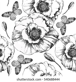 Seamless pattern with blooming flowers and flying butterflies. Vector black and white illustration.