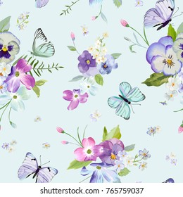 Seamless Pattern with Blooming Flowers and Flying Butterflies in Watercolor Style. Beauty in Nature. Background for Fabric, Textile, Print and Invitation. Vector illustration