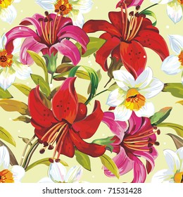 Seamless pattern with blooming lily on yellow background, vector illustration