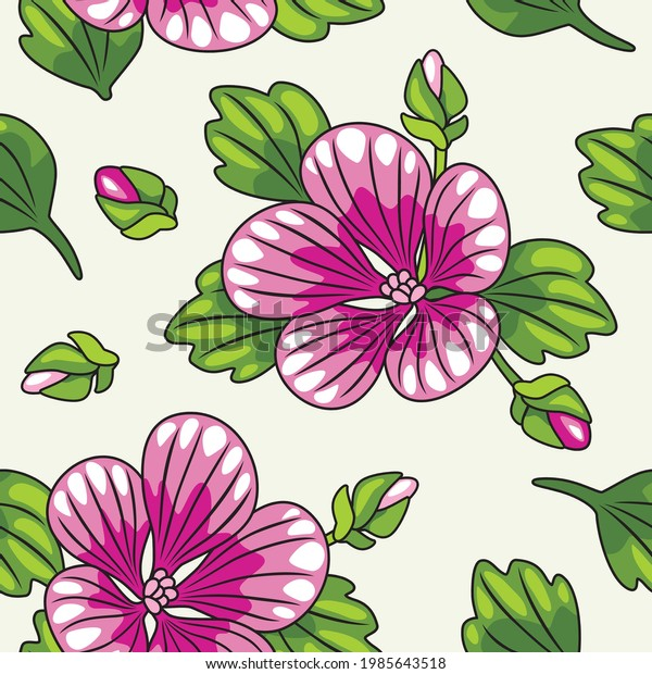 seamless-pattern-blooming-mallow-vector-