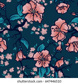 Seamless pattern with blooming tree branches, apple tree or sakura flowers background, vector illustration