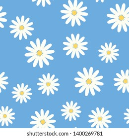 Seamless pattern of the blossom chamomile on the blue background