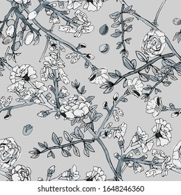 Seamless pattern with blossom flowers sakura tree. Vector illustration with plants wild roses. Gentle pastel colors. EPS 10