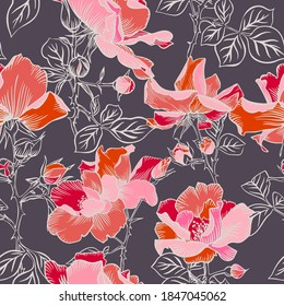 Seamless pattern with blossom large red roses petals buds and leaves. Artistic summer floral background. Beautiful botanical ornament. Line drawing, Vintage style.