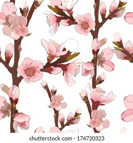 Seamless pattern with blossoming almond branch with pink flowers. Realistic vector illustration
