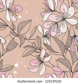 seamless pattern from blossoming Oriental cherry