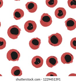 Seamless pattern blots black and red color. Vector. Elements are not cropped. Pattern under the mask. Perfect design for textile, box, posters, cards etc.