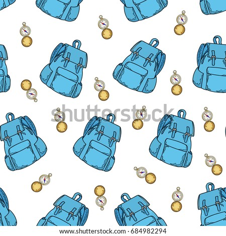 Seamless Pattern Of Blue Backpack And Gold Compass On A White Background Traveling Wallpaper