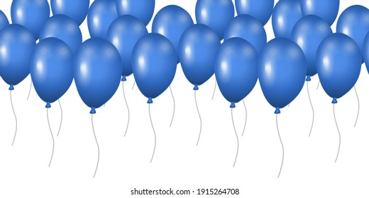 Seamless pattern blue balloons isolated on white background. Border template for postcard, banner, poster, web design. Hand Drawn vector illustration.