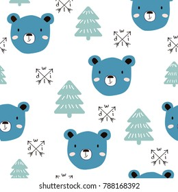 Seamless pattern with blue bear face. Vector hand drawn illustration.