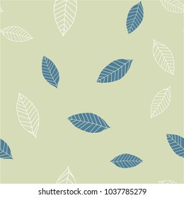Seamless pattern with blue and beige leaves on green background, vector illustration