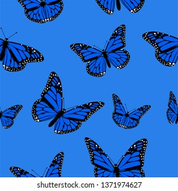 Seamless pattern of blue butterflies on a blue background vector image