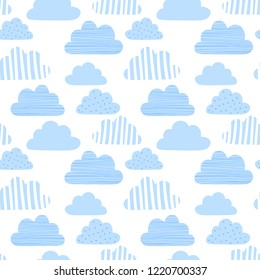 Seamless pattern of blue clouds in small distance on transparent background. Vector image for holiday, baby shower, birthday, wrappers, print, clothes, cards, banner, textiles, boys