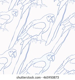 seamless pattern blue coloring of the Caribbean parrot sitting vector illustration