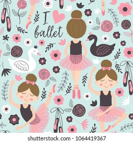 seamless pattern blue with cute ballerina - vector illustration, eps