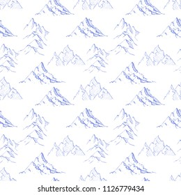 Seamless pattern with blue doodle sketch mountains on white background.  Can be used for wallpaper, pattern fills, textile, web page background, surface textures