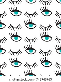 Seamless pattern with blue eyes and winks.