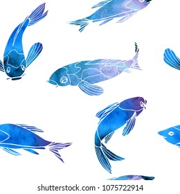 Seamless pattern with blue Fishes Carps Koi on white background. Watercolor effect, vector illustration.