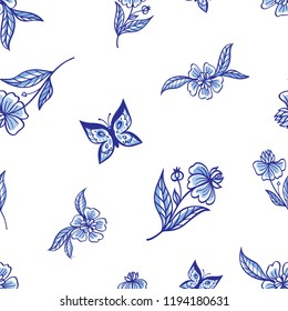 Seamless pattern of blue flowers and butterflies on a white background. Painting for dishes, print for fabric, embroidery, etc. Delft and English porcelain, Gzhel painting.