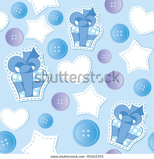 seamless pattern with blue gift boxes and buttons