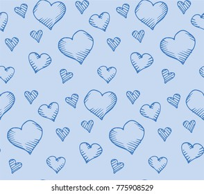 Seamless pattern of blue hearts sketches.