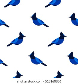 Seamless pattern with blue jay. Ornament for textile and wrapping. Vector background.