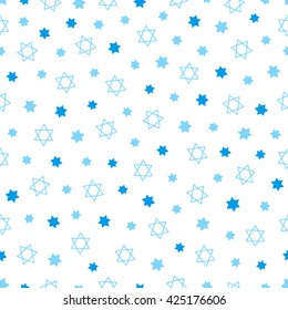 Seamless pattern with blue Jewish stars on white background. Perfect for Passover, Shavuot, Israel Independence Day, Jerusalem Day, Pesach, Hanukkah and other Jewish holidays. Vector illustration
