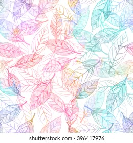 Seamless pattern with blue leaves. Vector, EPS 10.