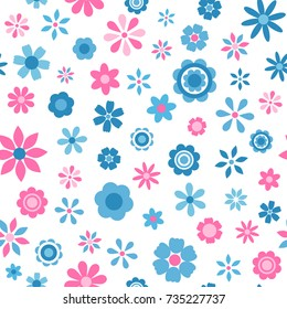 seamless pattern with blue and pink flowers