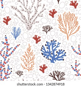 Seamless pattern with blue and red corals, seaweed or algae. Backdrop with sea species, ocean flora and fauna, exotic underwater wildlife. Flat natural vector illustration for wrapping paper.