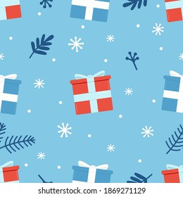 Seamless pattern with blue and red gifts,snowflakes and christmas  elements  on the blue background. Celebratory pattern for decorating gifts, fabrics and clothes for the New Year and Christmas.