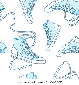 Seamless pattern with blue shoes. Hand drawn gumshoes