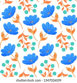 Seamless pattern with blue tulips on white blue background.