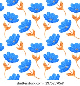 Seamless pattern with blue tulips on white background.
