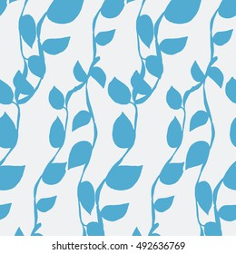 Seamless Pattern with Blue Vines