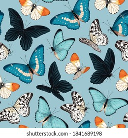 Seamless pattern with blue and yellow butterflies