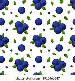 Seamless pattern with blueberries and leaves. Bright, blue, juicy, summery, fruity pattern. Color elements in the linear style are isolated without a background. For clothing design and food packaging