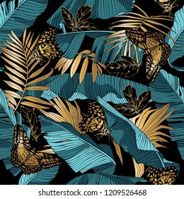 Seamless pattern. Blue-green Tropical banana leaves, gold exotic palm and butterflies on a dark background. Textile composition, hand drawn style print. Vector illustration.