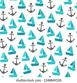 a seamless pattern with boats and anchors