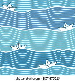 Seamless pattern with boats at sea waves on blue background