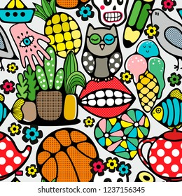Seamless pattern with body parts, nirds and toys. Vector wallpaper in doodle style.