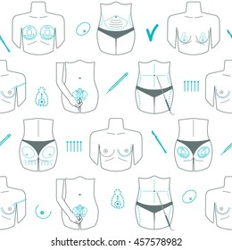 Seamless pattern of body plastic surgery. Flat design. Vector illustration
