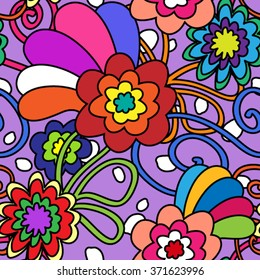 Seamless pattern in bold 70's retro flowers