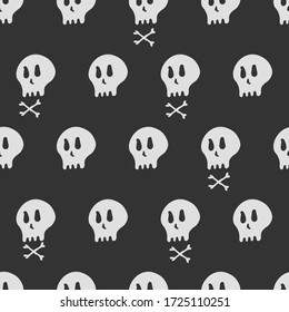 seamless pattern of bone head, cartoon style drawing background vector