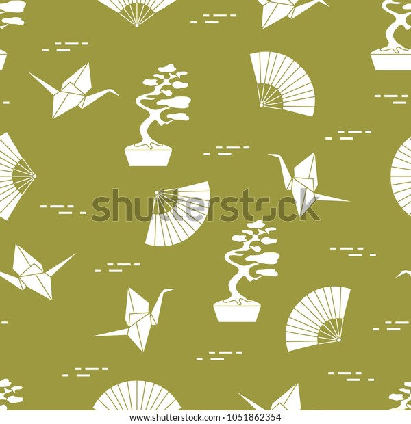 Seamless Pattern Bonsai Trees Origami Paper Stock Vector Royalty Free 1051862354