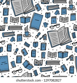 Seamless pattern of book set in doodle style. Sketch symbols of reading enadless background. Vector  illustration.