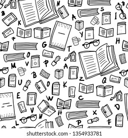 Seamless pattern of book set in doodle style. Sketch symbols of reading enadless background. Vector black and white design illustration.