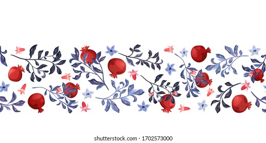 Seamless pattern, border from branches and pomegranate fruits on a white background.